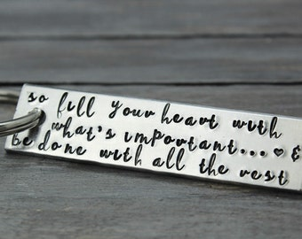 Inspirational Key Chain, Custom Key Chain, Encouragement Gift, Personal Message Key Chain, Inspiration Gift Hand stamped Key Chain Stamped