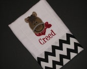 Personalized, appliqued burp cloth with little boy horse with bandana; farm animal burpie; barnyard animal; horse