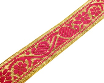 Brocade Silk Border - Hot Pink and Gold Trim / Lace / Ribbon - Paisley Pattern 1 Yard Border