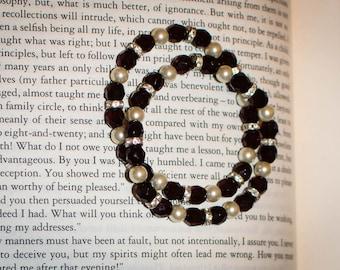 "Set of (2) Jane Austen/ Regency Style Pearl, Rhinestone and ""Garnet"" Bead Bracelet"