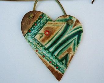Contemporary Heart Wall hanging Emerald Green Heart Ornament Handmade Textured Heart, Love Symbol, Asymmetric Ceramic Wall Heart, XOXO.