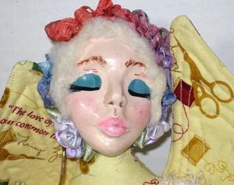 Faery Fairy OOAK Cloth Art Doll Sewing Fabric