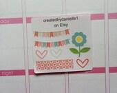 Romantic Sampler Planner Stickers - Heart Sticker, Flower Sticker, Bunting Banner Sticker, Washi Sample Sticker, set of 7