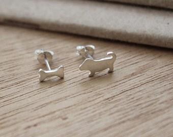 Mismatch earrings - Dog and bone stud earring - dog earrings - animal earrings - matte