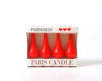 Vintage Danish modern Paris Candles boxed set, 1960s, Hjertelys Dansk, Pariserlys 4 red candles, mid century modernist retro home decor