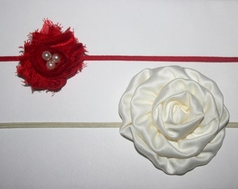 Red Shabby Chic Petite Rosette with Pearls and Ivory Satin Rosette Skinny Elastic Headbands