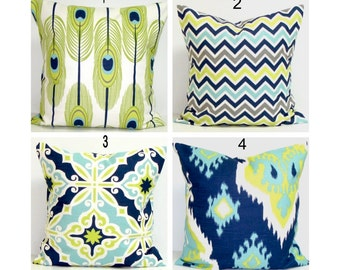 BLUE Pillows.Green Pillows, Pillow Cover, Decorative Pillow, Green Throw Pillow, Blue Throw Pillow, Accent Pillow, All Sizes, Euro, Cushion