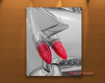 Car Photography, 1950s Cars, Cadillac Art, Tail Fins, Car Art, Black and White, Automobile Art, Car Picture, Boyfriend Gift, Guy Thing