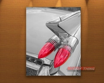 Cadillac Art, Tail Fins, Car Photography, Car Art, Black and White, Automobile Art, Car Picture, Boyfriend Gift, Guy Thing, 50s cars