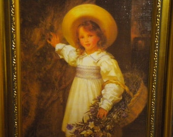 """13.75 x 10"""" Amazing Vintage Framed Print, Victorian, Girl's Room, Hollywood Regency, French"""
