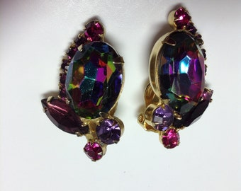 D&E aka Juliana Watermelon, Purple and Fuchsia Clip Earrings   Item: 17014