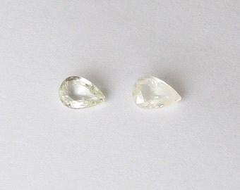 Genuine Yellow Sapphire, Heated only, Pear Cut, Lot (2) of 2.20 carats