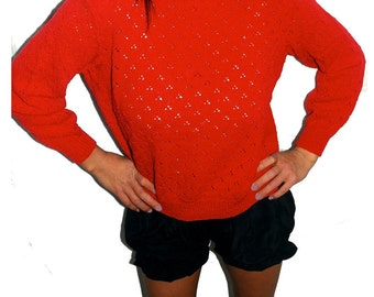 1970s Vintage Red pointelle sweater