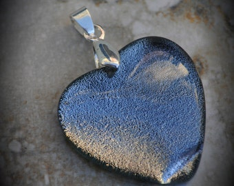 Heart Silver Plated Dichroic Fused Glass Pendant 6014