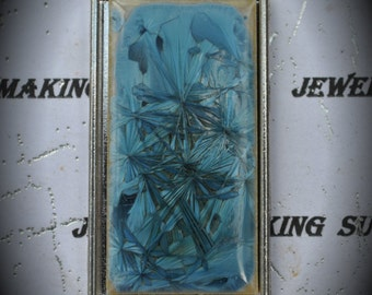 Silver Plated Rectangle Blue Ceramic Pendant