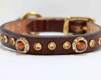 "9-11"" and 13-16"" Dark Brown Dog Collar with Topaz Swarovski Crystals on Leather"