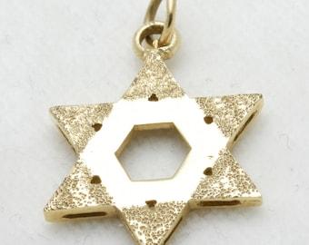 Vintage 14k yellow gold Jewish Star David Pendant Brushed large Estate