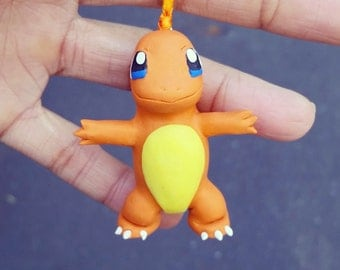 Charmander ornament, Charmander figurine, polymer clay pokemon Charmander