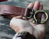 Red brown distressed genuine cow leather/ Inspiration vintage Keychain