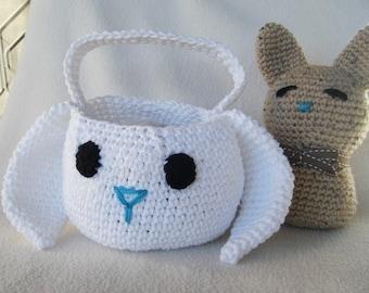 Cute Crocheted Easter Bunny Basket