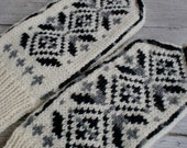 Hand Knit White and Grey Mittens/ SandraStJu Design/ Wool/ Handmade