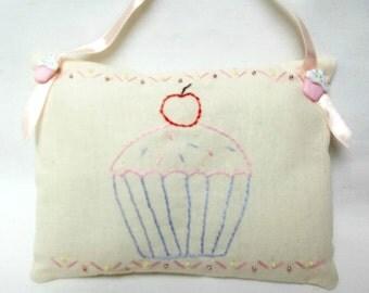 Cupcake Pillow/ Embroidered Hanging Mini Pillow