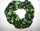 St. Patricks Day Shamrock sparkle Fabric Hair Scrunchie - holiday green scrunchies, clover, luck