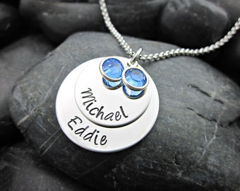 Stacked Mother's Necklace - 2 Names / Birthstones - Personalized