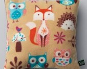 Child's Fox & Owl Pyjama Cushion Case, gift for child, soft fleece, woodland, nursery accessory, matches fox and owl blanket in listing