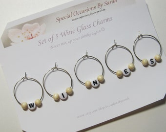 "Wine Glass Charms  - Set of 5 - ""WINES"""