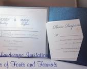 Custom 5x7 Pocketfold Wedding Invitation