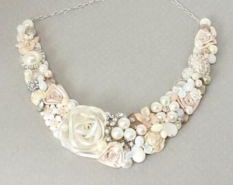 Blush Pink Necklace- Romantic Bridal Bib- Wedding Necklace- Pale Pink Necklace- Pink Bib- Whisper Pink Necklace- Blush Statement Necklace