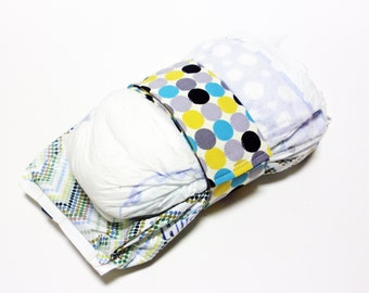 Dots Diaper Strap - Grey Turquoise Black Yellow Dots