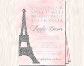 Sweet 16 Sixteen Night in Paris Eiffel Tower Pink  Silver / Gold Glitter Birthday Party Baby Wedding Bridal Shower Invitation Card