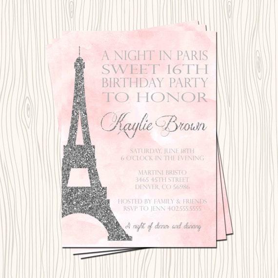 Paris Eiffel Tower Pillow 16 X 16: Sweet 16 Sixteen Night In Paris Eiffel Tower Pink Silver
