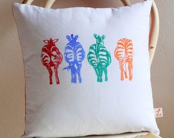 Rainbow Zebra Bums hand block printed decorative scatter cushion with Shweshwe backing