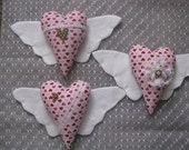 Valentine's Day, winged hearts, lace, red hearts, buttons, handmade