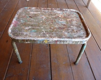Vintage Industrial Metal Step Stool with Splattered Paint-Industrial Stool-Home Decor-Step Stool-