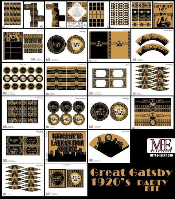 1920 39 s party gatsby banner art deco birthday flapper for Art deco party decoration ideas