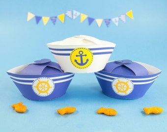 Nautical Party Favor Boxes DIY, Printable Navy Blue and Yellow Sailor Hat gift box, DIY Boys Baby Shower Favor, Children's Party Favor