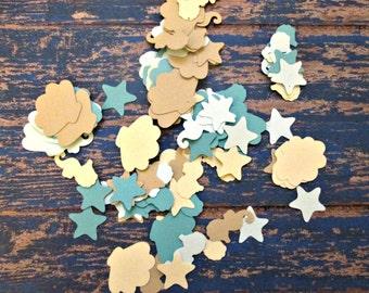 Beach Confetti - Starfish, Shells and Seahorses - Sand and Blues, Blue Beach confetti, Beachy wedding, beach Bridal shower