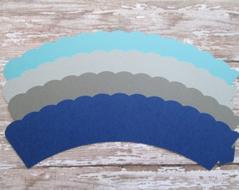 Navy, Aqua and Greys Cupcake Wrappers - Blues, Navy Greys, Its a boy, baby showers, cupcake wrappers, solid cupcakes, wrappers,