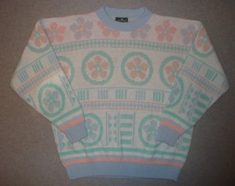 Cute 80s 90s Hipster Geometric Flowers Pastel Sweater Made In USA Beautiful Tacky Ugly Christmas X-Mas Party Holiday Winter Warm L Large