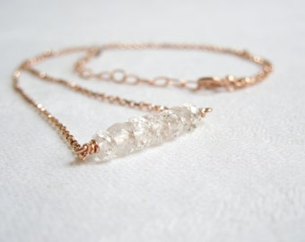 Minimalist Gemstone Necklace: Faceted Danburite- 14K Rose Gold Filled Rolo Chain- Diamond Simulant- April Birthstone