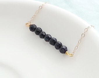 Blue Bar Necklace. Goldstone Necklace. Gemstone Bar. Navy Blue Bar. Gold Filled. Layering Layered. Summer Necklace. Nautical Necklace