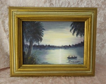 Vintage Sunset at the Beach Oil Painting on Canvas Signed J Sallinger