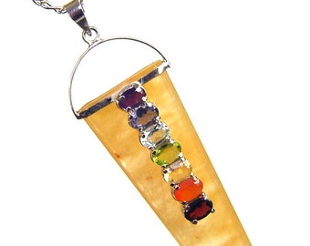 Golden Adventurine Crystal Point Sterling Silver Pendant 7 Chakra Gem 5431K
