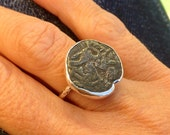 Cast vintage indian coin ring, bronze and sterling silver, womens ring