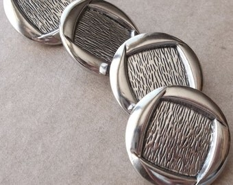 nos vintage silver tone metal shank round buttons with square center design--matching lot of