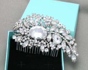 Gorgeous Bridal Hair Comb, Large SWAROVSKI Rhinestone Wedding Hair Comb, Flower Bridal Hair Accessories, Wedding Hair Accessories Headpiece